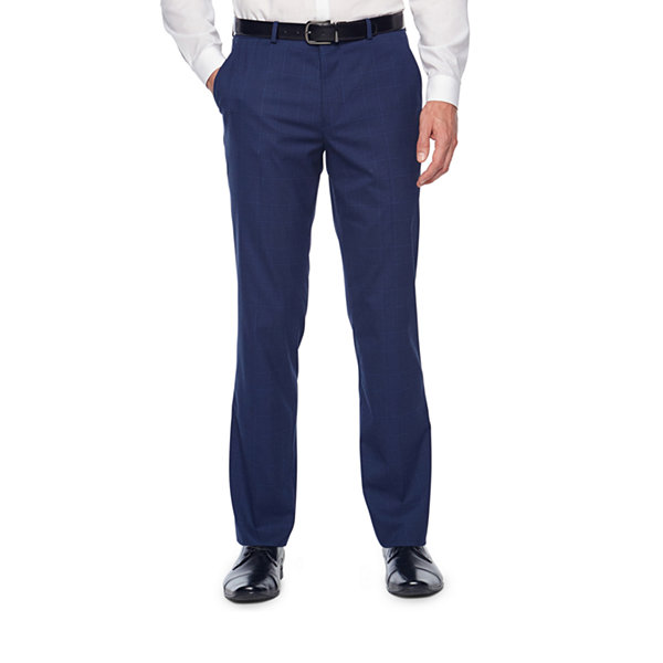 JF J.Ferrar Plaid Classic Fit Stretch Suit Pants