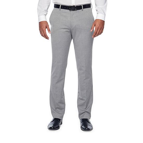 JF J.Ferrar Light Gray Texture Super Slim Fit Stretch Suit Pants