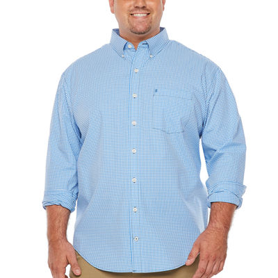 IZOD Premium Essential Wovens Mens Long Sleeve Checked Button-Front Shirt Big and Tall