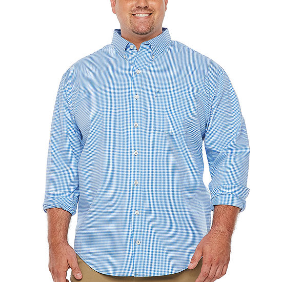 IZOD Big and Tall Premium Essential Wovens Mens Long Sleeve Checked Button-Front Shirt