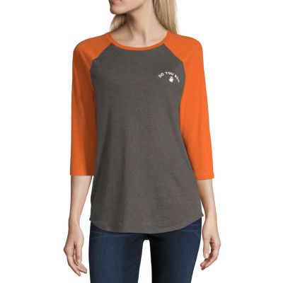City Streets 3/4 Sleeve Crew Neck T-Shirt-Womens Juniors