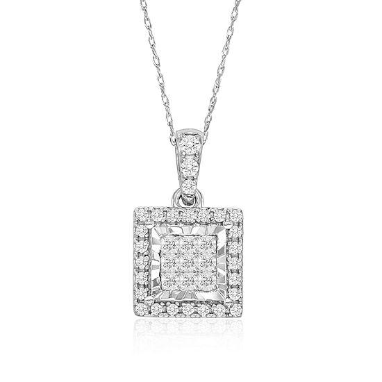 4b2b8526c528a Tru Miracle Womens Genuine White Diamond 10K White Gold Pendant Necklace
