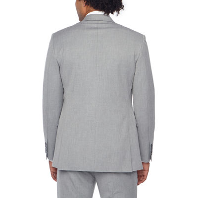 JF J.Ferrar Light Grey Texture Classic Fit Stretch Suit Jacket