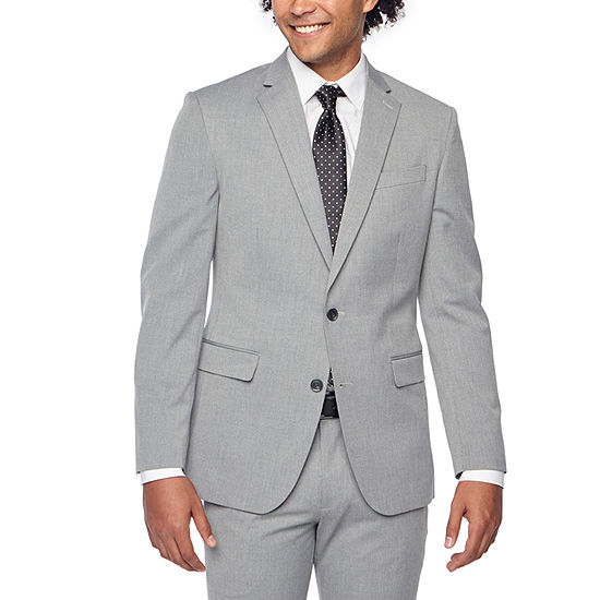 JF J.Ferrar Light Gray Texture Super Slim Fit Stretch Suit Jacket