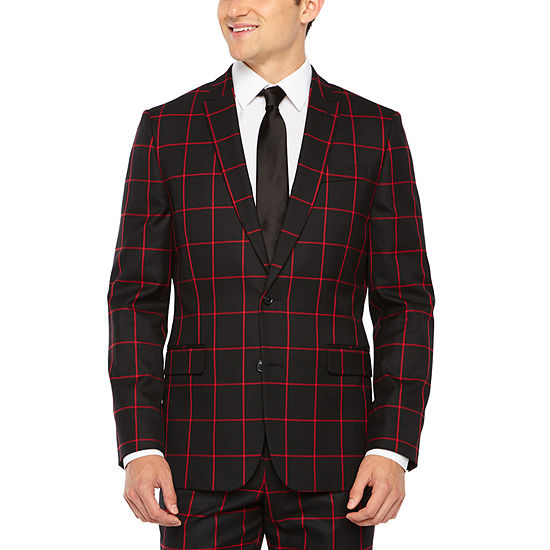 JF J.Ferrar Windowpane Super Slim Fit Stretch Suit Jacket