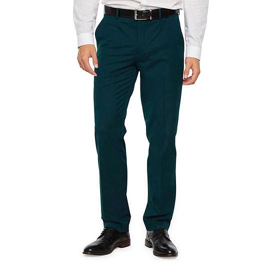 JF J.Ferrar Dark Teal Mens Stretch Super Slim Fit Suit Pants
