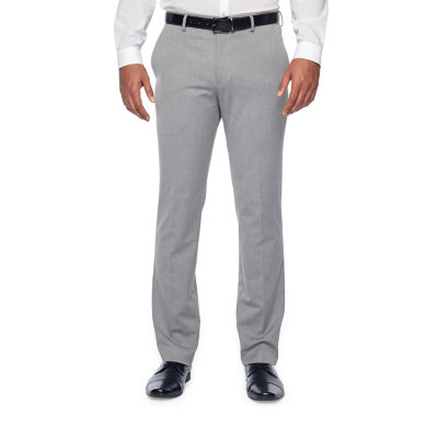 JF J.Ferrar Light Grey Texture Classic Fit Stretch Suit Pants