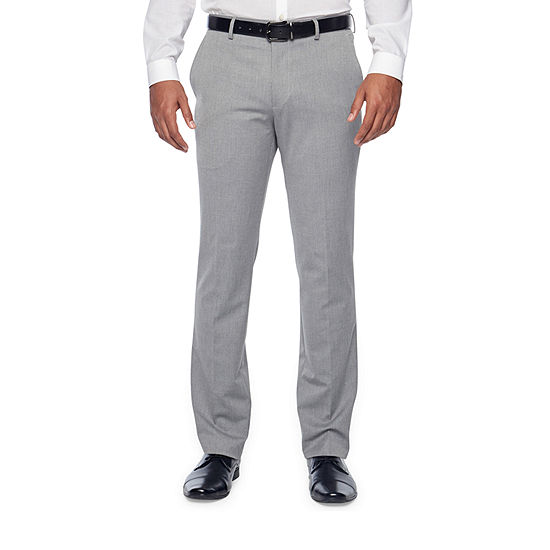 JF J.Ferrar Light Grey Texture Mens Stretch Classic Fit Suit Pants