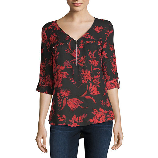 3268fce4f by&by Womens V Neck 3/4 Sleeve Blouse-Juniors - JCPenney