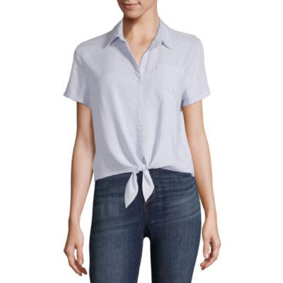 Arizona Womens Collar Neck Short Sleeve Woven Blouse-Juniors