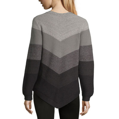 Alyx Long Sleeve Scoop Neck Chevron Pullover Sweater
