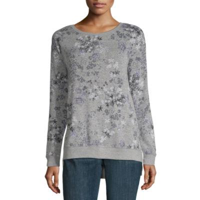 Liz Claiborne Long Sleeve Space Dye Sweatshirt- Plus