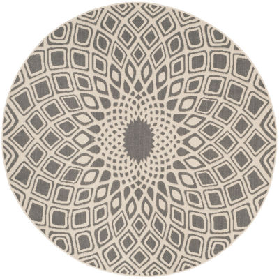 Safavieh Courtyard Collection Jacinth Geometric Indoor/Outdoor Round Area Rug