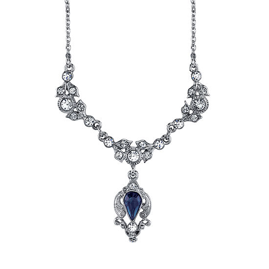 Downton Abbey By 1928 Jewelry Blue 16 Inch Link Pendant