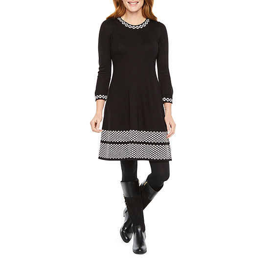 Jessica Howard-Petite 3/4 Sleeve Sweater Dress