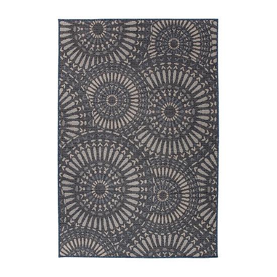 World Rug Gallery Modern Circles Rectangular Indoor/Outdoor Rugs