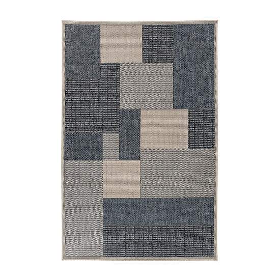 World Rug Gallery Modern Contemporary Geometric Boxes Rectangular Indoor/Outdoor Rugs