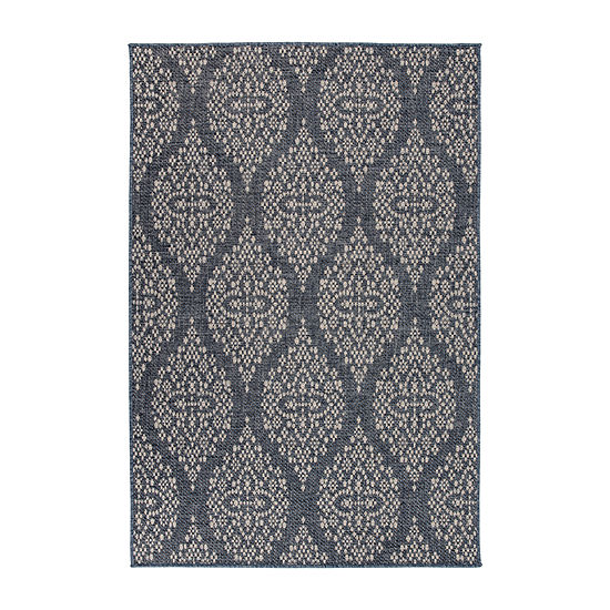 World Rug Gallery Modern Damask Rectangular Indoor/Outdoor Rugs