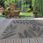 World Rug Gallery Modern Floral Leaves Rectangular Indoor/Outdoor Rugs
