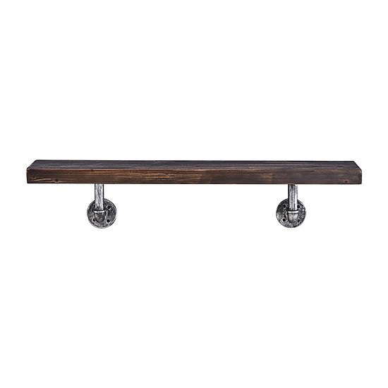 Danya B 36 X 7 Floating Pipe Industrial Rustic Wall Mount – Ebony Wall Shelf