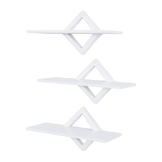 Danya B Diamonds 3-Level Wall Mount Shelving System-White Wall Shelf