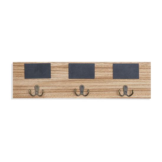 Danya B Entryway Coat Rack With 3 Metal Double  And Chalkboard Tags Wall Hook