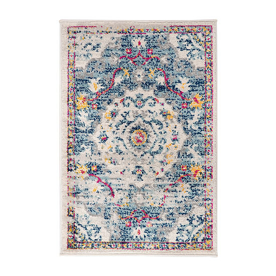 World Rug Gallery Medallion Distressed Bohemian Rectangular Indoor Rugs