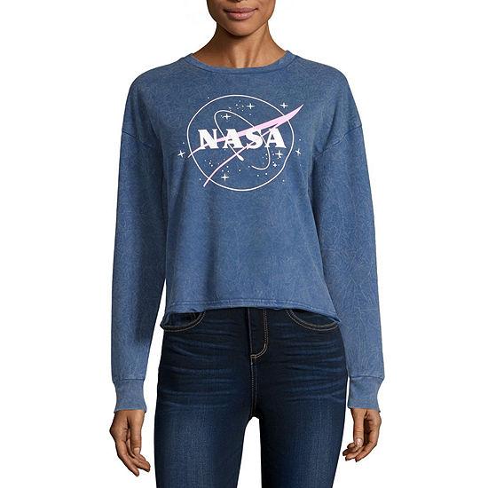 Womens Crew Neck Long Sleeve NASA Sweatshirt Juniors
