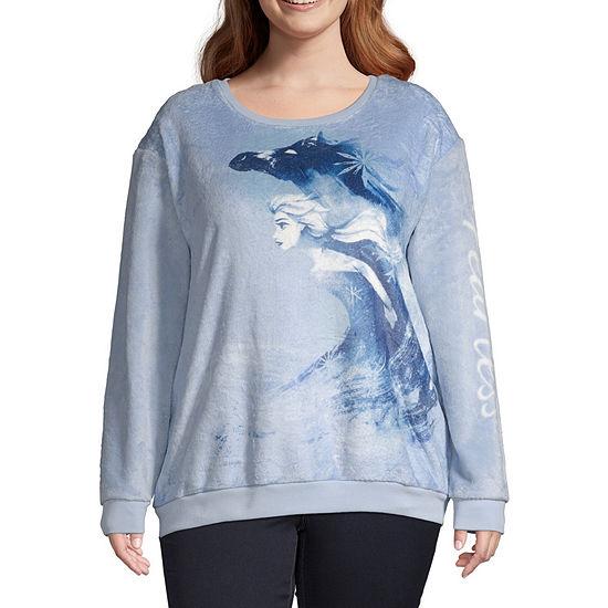 Womens Crew Neck Long Sleeve Frozen Sweatshirt Juniors Plus
