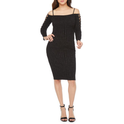 Premier Amour Long Sleeve Glitter Knit Sheath Dress