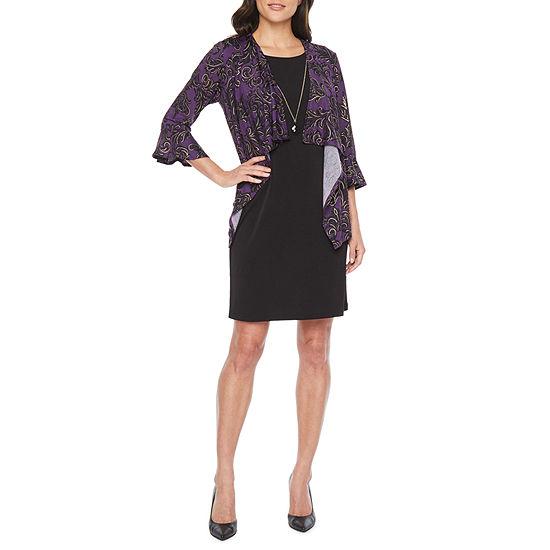 R & K Originals 3/4 Sleeve Faux- Jacket Dress