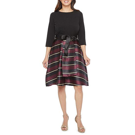 R & K Originals 3/4 Sleeve Striped Fit & Flare Dress