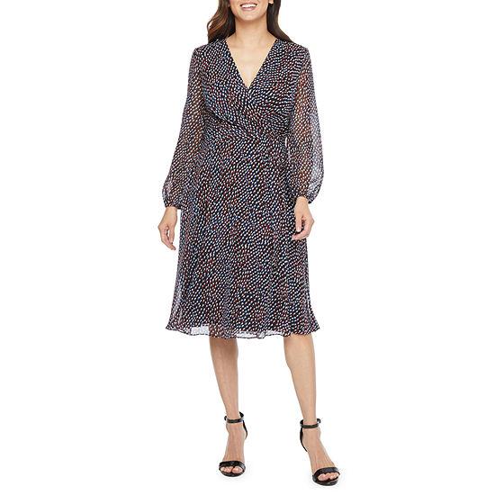 Chelsea Rose Long Sleeve Dots Wrap Dress