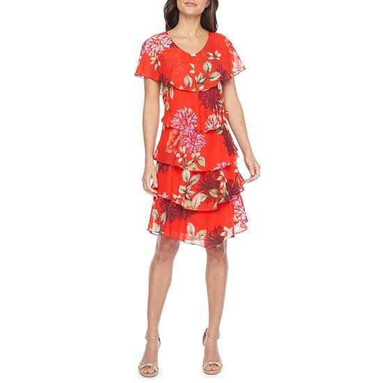 S. L. Fashions Short Sleeve Floral Shift Dress