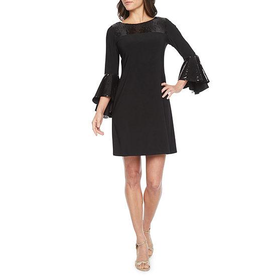 MSK 3/4 Bell Sleeve Sequin Trim Shift Dress
