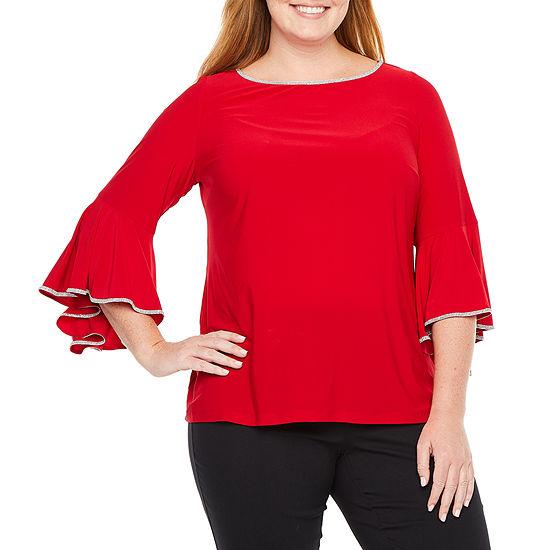MSK Womens 3/4 Bell Sleeve Embellished Blouse-Plus