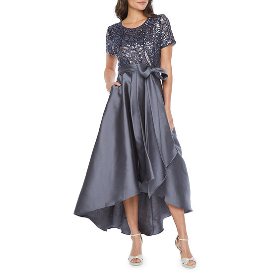 R & M Richards Short Sleeve Sequin Top Evening Gown