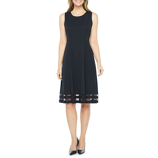 Liz Claiborne Sleeveless Mesh Border Fit & Flare Dress