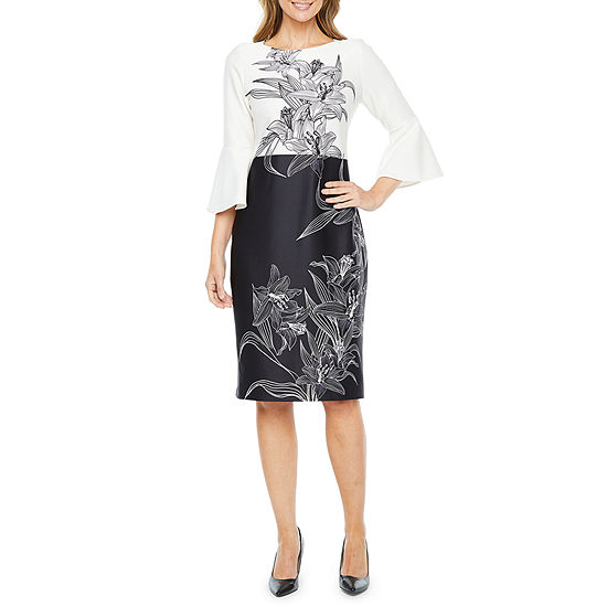 Liz Claiborne 3/4 Bell Sleeve Floral Sheath Dress