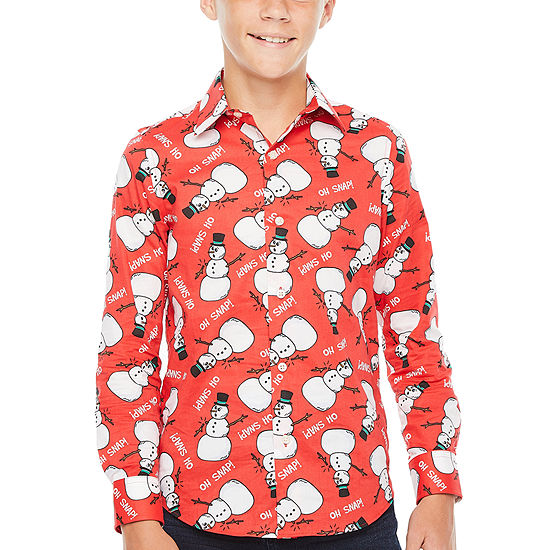 North Pole Trading Co. Boys Point Collar Long Sleeve Dress Shirt