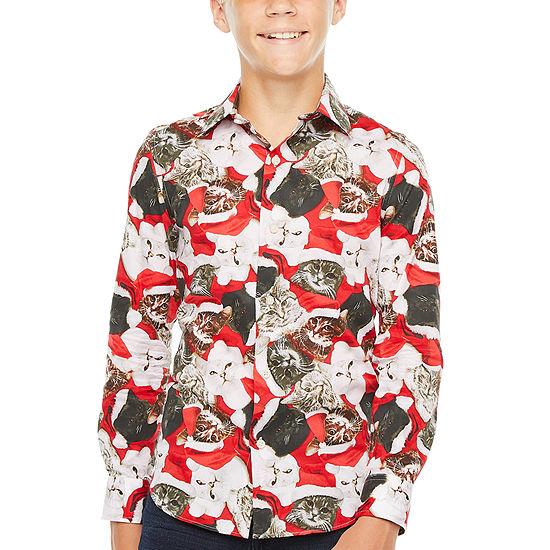 North Pole Trading Co. Boys Point Collar Long Sleeve Dress Shirt