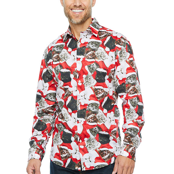 North Pole Trading Co. Mens Point Collar Long Sleeve Dress Shirt