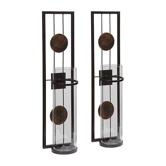 Danya B 20 In Floating Metal Medallion 2-pc. Candle Sconce