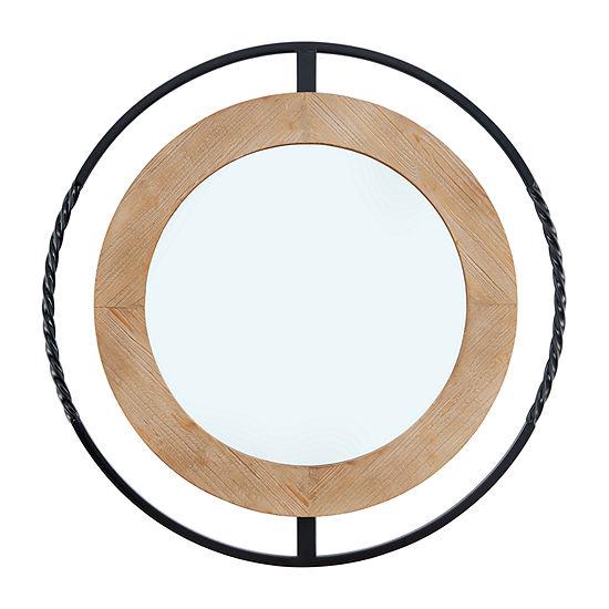 Danya B Rustic Industrial 32 Round Iron And Natural Wood Wall Mirror