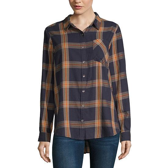 Vanilla Star Womens Long Sleeve Flannel Shirt-Juniors
