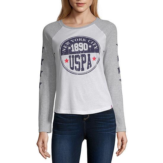 Us Polo Assn.-Womens Round Neck Long Sleeve T-Shirt Juniors