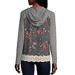 Rewind-Juniors Womens Long Sleeve Knit Hoodie