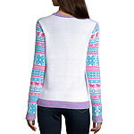 City Streets-Juniors Womens Crew Neck Long Sleeve Pullover Sweater