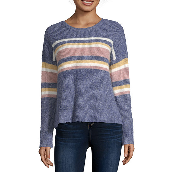 Arizona Womens Crew Neck Long Sleeve Striped Pullover Sweater-Juniors