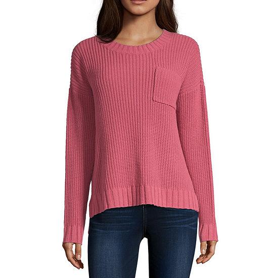 Arizona-Juniors Womens Crew Neck Long Sleeve Striped Pullover Sweater